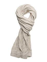 O1.CABLE SCARF - CREAM