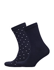 O1. 2 PACK SOLID AND DOT SOCK - MARINE