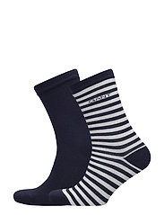 01. 2 PACK SOLID AND BARSTRIPE SOCK - MARINE