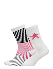 O. STRIPES & STARS 2-PACK SOCKS - RICH PINK