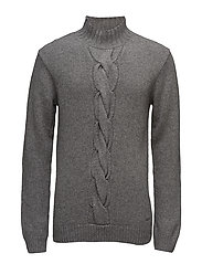 O2. CABLE MOCK NECK - DARK GREY MELANGE