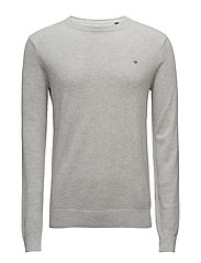 COTTON PIQUE CREW - LIGHT GREY MELANGE