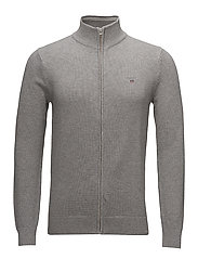 COTTON PIQUE ZIP CARDIGAN - GREY MELANGE