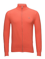 COTTON PIQUE ZIP CARDIGAN - STRONG CORAL