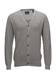 COTTON PIQUE CARDIGAN - GREY MELANGE