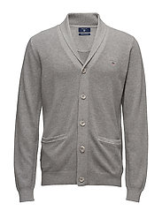 COTTON PIQUE SHAWL CARDIGAN - GREY MELANGE