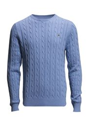 COTTON CABLE CREW - LT BLUE MELANGE