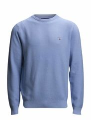 COTTON PIQUE CREW - SEA BLUE
