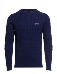 NATURAL COTTON CABLE CREW - AURORAL BLUE