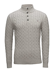 O1. COTTON CABLE MOCKNECK - LIGHT GREY MELANGE