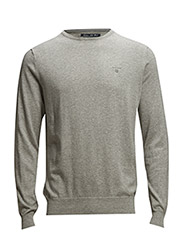 COTTON SILK WOOL CREW - GREY MELANGE