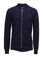 O1. COTTON TEXTURE KNIT JACKET - NAVY