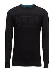 O1. GANT LOGO TEXTURE CREW - BLACK