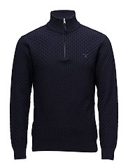 O1. BASKETWEAVE HALFZIP - EVENING BLUE