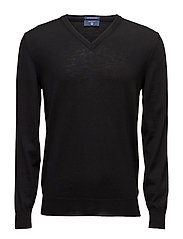 FINE MERINO V-NECK - BLACK