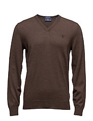 FINE MERINO V-NECK - BLACK MUD