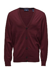 FINE MERINO CARDIGAN - PURPLE WINE