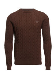 LAMBSWOOL CABLE CREW - BROWN MELANGE