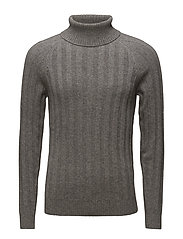 O2. RIB TURTLENECK - GREY MELANGE