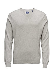 O. COTTON SILK WOOL V-NECK - LIGHT GREY MELANGE
