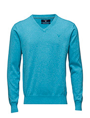 LT. WEIGHT COTTON V-NECK - AQUA MELANGE