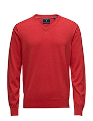 LT. WEIGHT COTTON V-NECK - BRIGHT RED MEL