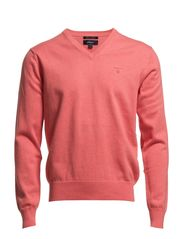 LT. WEIGHT COTTON V-NECK - CORAL RED MEL