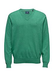 LT. WEIGHT COTTON V-NECK - KELLY GREEN MEL
