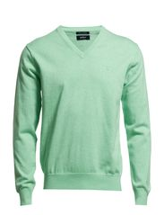 LT. WEIGHT COTTON V-NECK - LT GREEN MELANGE
