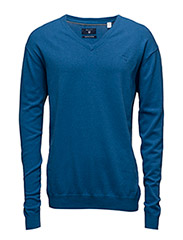 LT. WEIGHT COTTON V-NECK - PALACE BLUE MEL