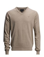 LT. WEIGHT COTTON V-NECK - SAND MELANGE