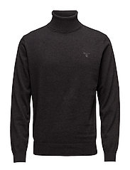 LT. WEIGHT COTTON TURTLE NECK - DK CHARCOAL MELANGE