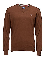 COTTON WOOL V-NECK - CLAY BROWN  MEL