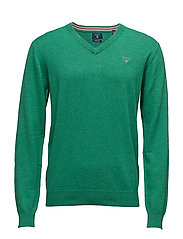 COTTON WOOL V-NECK - KELLY GREEN MEL