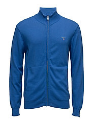 COTTON WOOL ZIP CARDIGAN - PALACE BLUE MEL