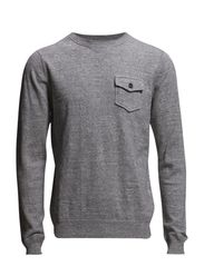 L. COTTON MELANGE COLLEGE CREW - GREY MELANGE