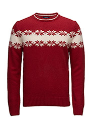 W. LAMBSWOOL CHEST SNOWFLAKE CREW - RED