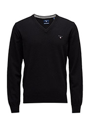 SUPER FINE LAMBSWOOL V-NECK - BLACK