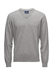 SUPER FINE LAMBSWOOL V-NECK - GREY MELANGE