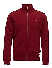 SUPER FINE LAMBSWOOL ZIP CARDIGAN - MAHOGNY RED