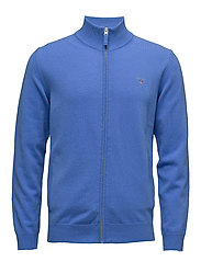 SUPER FINE LAMBSWOOL ZIP CARDIGAN - PALACE BLUE
