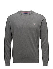 STRETCH COTTON CREW - DARK GREY MELANGE