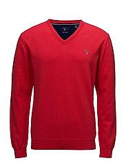O1. STRETCH COTTON V-NECK - BRIGHT RED