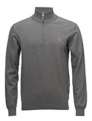 O1. STRETCH COTTON HALF ZIP - DARK GREY MELANGE