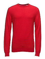 O1. COTTON TEXTURE CREW - CLEAR RED