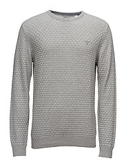 O1. COTTON TEXTURE CREW - GREY MELANGE