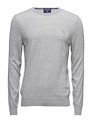 FINE MERINO WOOL CREW - LIGHT GREY MELANGE
