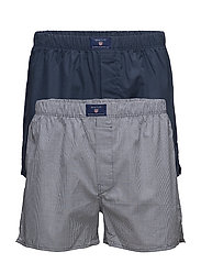 2-P BOXER SHORTS GINGH/SOLID TUNNEL - NAVY