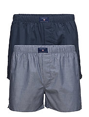2-P BOXER SHORTS OXF/SOLID TUNNEL - HURRICANE BLUE