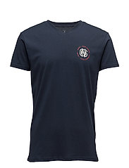 V-NECK T-SHIRT SMALL PRINT - NAVY